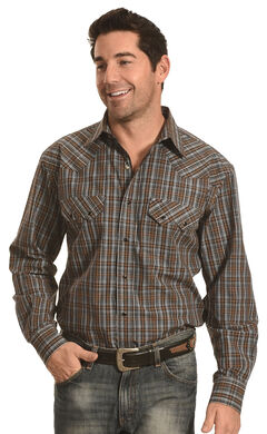 Crazy Cowboy Men's Brown and Black Plaid Western Snap Shirt , , hi-res