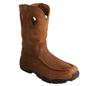 Twisted X Distressed Saddle Pull-On Hiker Boots - Moc Toe , Brown, hi-res
