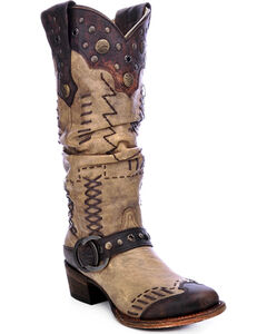 Corral Women's Studded Slouch Cowgirl Boots - Round Toe, , hi-res