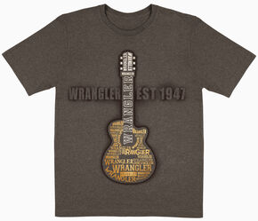 Wrangler Boys' Brown Guitar Logo Short Sleeve Tee , Brown, hi-res