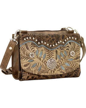 American West Woodland Bloom Small Crossbody Wallet, Dark Brown, hi-res