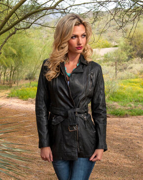 Scully Leatherwear Washed Lamb Leather Adjustable Belt Coat, Black, hi-res