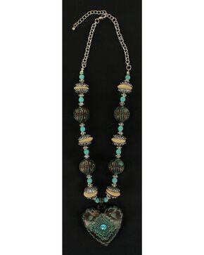 Blazin Roxx Antique Turquoise Heart Beaded Necklace, Turquoise, hi-res