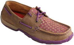 Twisted X Women's Bomber Brown & Purple Check Driving Mocs, , hi-res