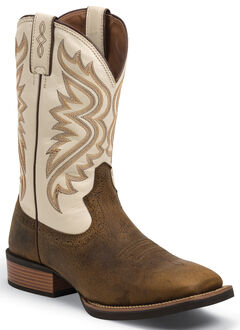 Justin Men's Whiskey Brown Silver Collection Cowboy Boots- Square Toe , , hi-res
