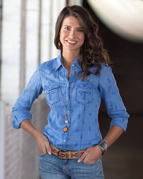 Ryan Michael Women's Flocked Linen Shirt, Blueberry, hi-res
