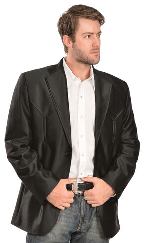 China Leather Men's Western Blazer, Black, hi-res