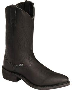 Justin Ranch & Road Cowboy Work Boots - Medium Toe, Black, hi-res