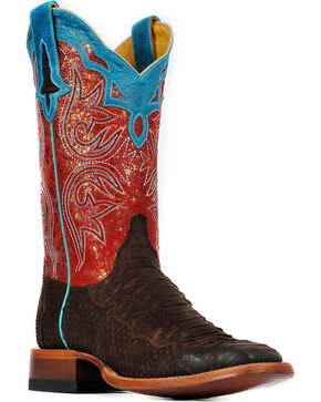 Cinch® Women's Suede Python Cowgirl Boots - Square Toe, Chocolate, hi-res