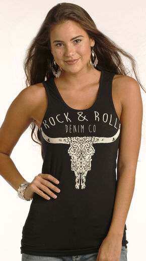 Rock & Roll Cowgirl Women's Black Denim Steer Graphic Tank , Black, hi-res