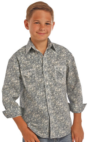Rock & Roll Cowboy Boys' Blue Poplin Paisley Print Shirt , Blue, hi-res