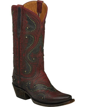 Lucchese Red Ombre Gemma Cowgirl Boots - Snip Toe , Red, hi-res