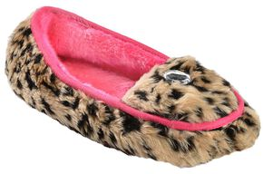 Blazin Roxx Women's Faux Fur Moccasin Slippers, Brown, hi-res