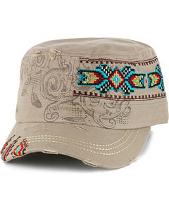 Savana Women's Tribal Print Embroidered Military Hat , , hi-res