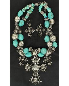 Blazin Roxx Three Cross and Turquoise Stone Beaded Necklace & Earrings Set, , hi-res