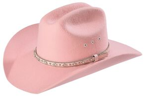 Twister Girls' Pink Bedecked Felt Cowgirl Hat, Pink, hi-res
