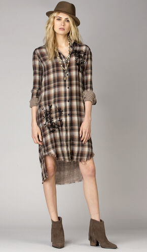 MM Vintage Women's Autumn Trails Plaid Shirt Dress , Brown, hi-res