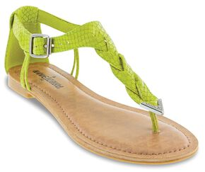 Minnetonka Fiesta Lime Lizard Braided Thong Sandals, Lime, hi-res