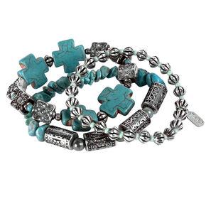 Treska Cowtown 3-Strand Stretch Bracelet , Turquoise, hi-res