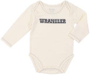 Wrangler Infant Natural Embroidered Logo Long Sleeve Bodysuit , Natural, hi-res