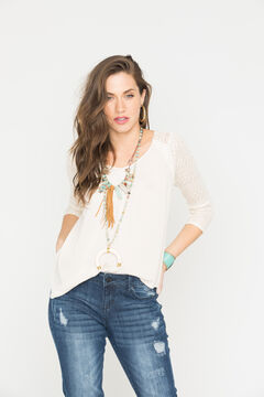 Miss Me Cream Cross Back 3/4 Sleeve Top , , hi-res