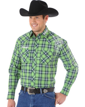 Wrangler Men's Western Logo Shirt, Green, hi-res