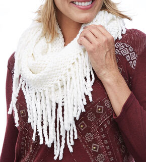 Shyanne Women's Cream Fringe Eternity Scarf, Cream, hi-res