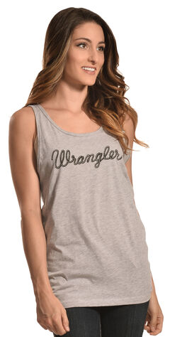 Wrangler Women's Heather Grey Logo Tank, , hi-res