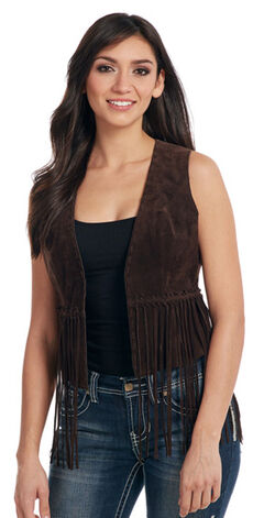 Cripple Creek Women's Mocha Brown Hand-Laced and Fringed Leather Vest , , hi-res