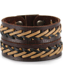Moonshine Spirit Men's Double Strand Laced Leather Cuff , , hi-res