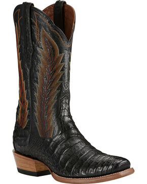 Ariat Black Turnback Caiman Belly Cowboy Boots - Square Toe, Black, hi-res