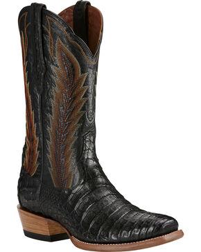 Ariat Black Turnback Caiman Belly Cowboy Boots - Square Toe, Black, hi-res