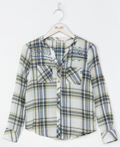Miss Me Women's Green Easy Street Plaid Shirt , Green, hi-res