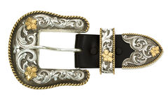 Montana Silversmiths Antiqued Two-Tone Filigree 3-Piece Belt Buckle Set, , hi-res