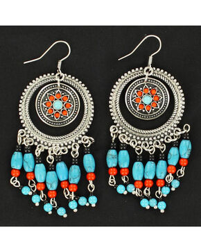Blazin Roxx Turquoise and Red Bedaded Concho Earrings, Multi, hi-res