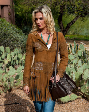 Scully Long Fringe Suede Coat, Brown, hi-res