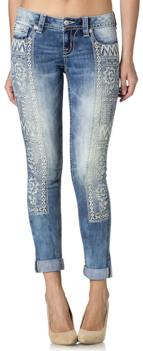 Miss Me Women's Boho Aztec Cuffed Skinny Jeans , Denim, hi-res