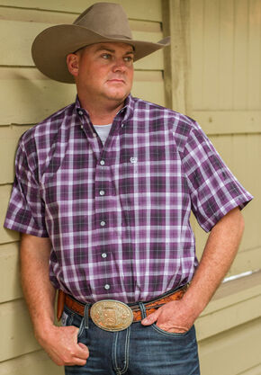 Cinch Men's Purple One Pocket Short Sleeve Plaid Shirt , Purple, hi-res