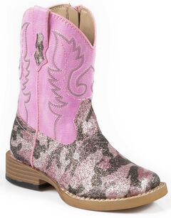 Roper Toddler Pretty Pink Camo Cowgirl Boots - Square Toe, , hi-res