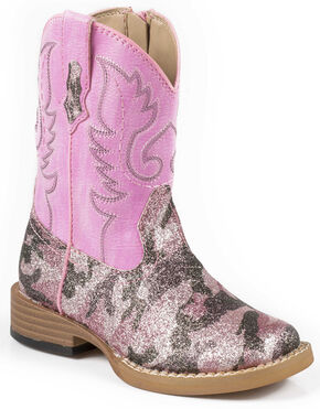 Roper Toddler Pretty Pink Camo Cowgirl Boots - Square Toe, Camouflage, hi-res