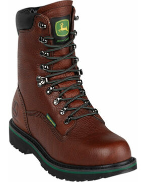 John Deere Men's Waterproof Lace-Up Work Boots - Round Toe, Brown, hi-res