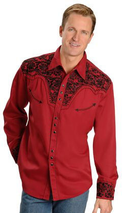 Scully Embroidered Red Retro Western Shirt, , hi-res