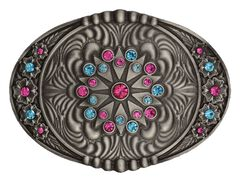 Montana Silversmiths Starburst Flower Belt Buckle, Silver, hi-res