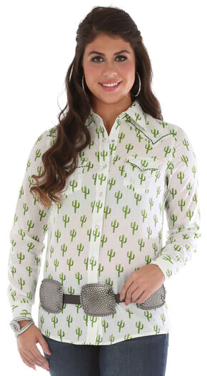Wrangler Women's Long Sleeve Cactus Print Shirt, Ivory, hi-res