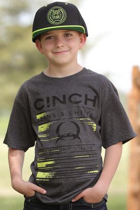 Cinch Boys' Charcoal Grey Crew Neck Tee, Charcoal Grey, hi-res
