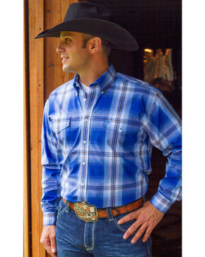 Cinch Men's Royal Blue Plaid Long Sleeve Western Shirt, Royal, hi-res