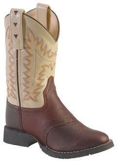 Old West Youth Boys' Saddle Vamp Cowboy Boots - Round Toe, , hi-res