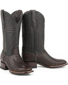 Stetson Men's Black Caiman Belly Vamp Western Boots - Square Toe , , hi-res