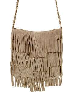 Shyanne Women's Fringe Crossbody Tote, Tan, hi-res