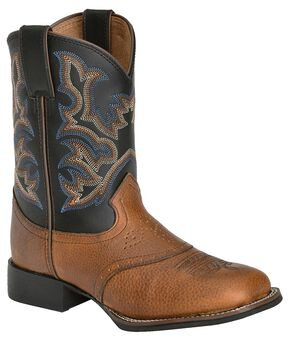Justin Youth Boys' Mahogany Black Cowboy Boots - Square Toe, Mahogany, hi-res